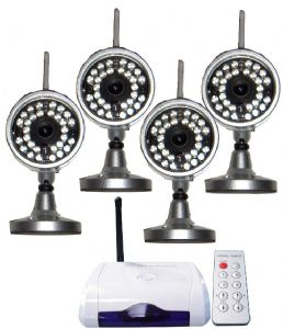 wireless outdoor cctv system with wireless cameras and receiver